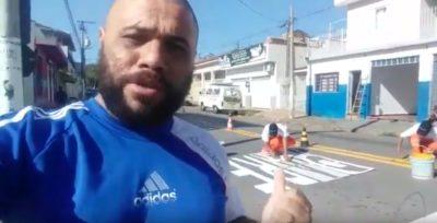 Nova sinalização no cruzamento da Rua São Paulo com Av. Brasil
