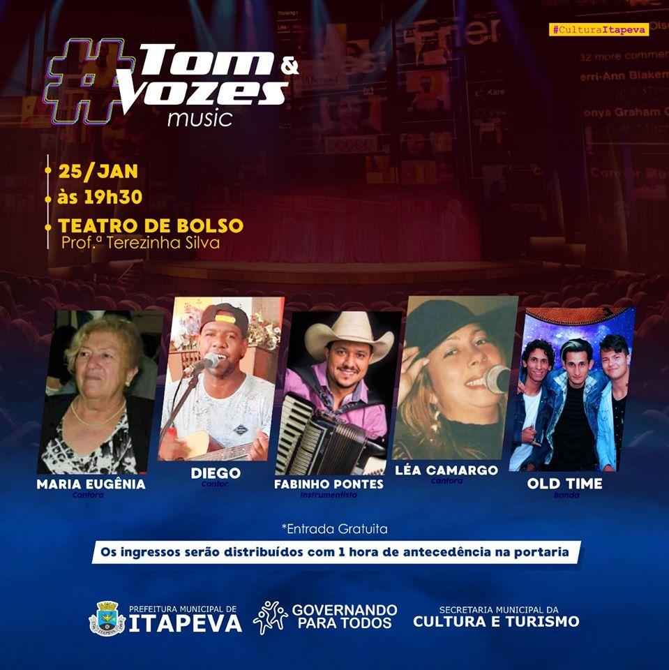 Espetáculo musical Tom & Vozes será realizado no Teatro de Bolso neste sábado