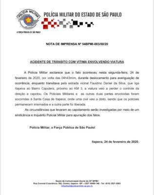 Nota oficial da PM sobre o acidente com vítima fatal envolvendo uma viatura
