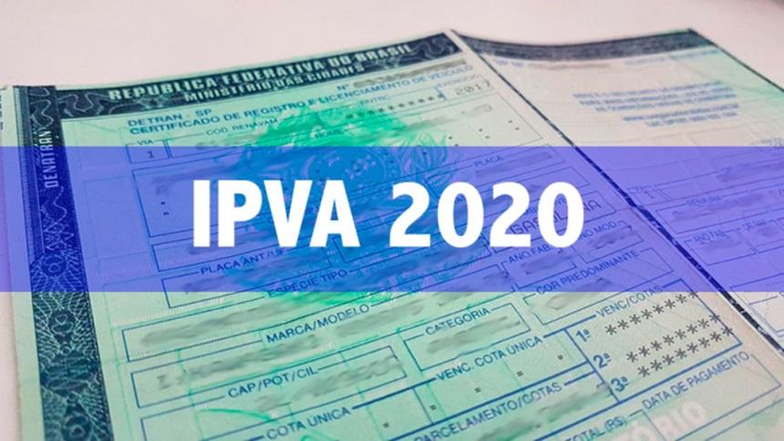 Pagamento à vista do IPVA 2020, sem desconto, de veículos com placa final 2 vence nesta quarta-feira (12)