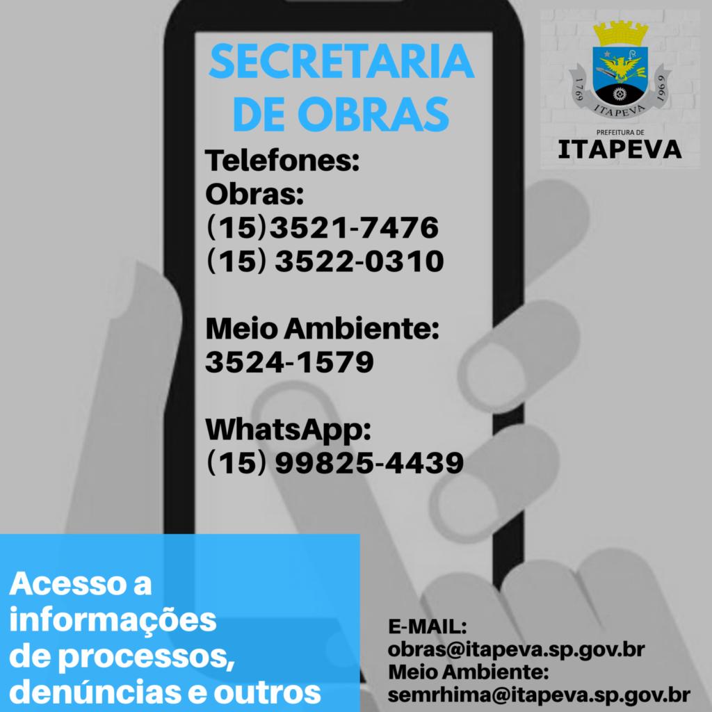 Secretaria de Obras disponibiliza canais para informações