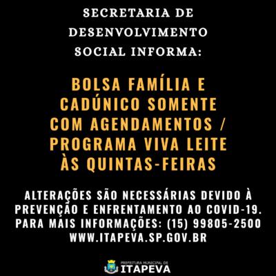 Secretaria de Desenvolvimento Social orienta sobre atendimento dos programas assistenciais