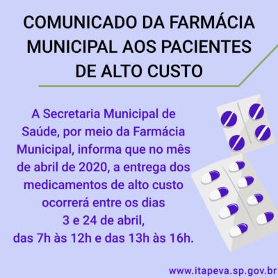 Comunicado da Farmácia Municipal aos pacientes de ALTO CUSTO