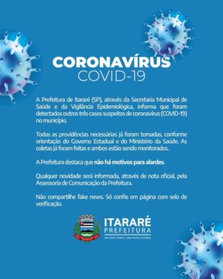 Itararé tem mais 3 casos SUSPEITOS de Coronavírus