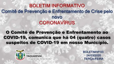 Taquarivaí comunica que há 4 (quatro) casos suspeitos de Coronavírus