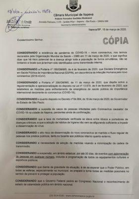 Presidente da Câmara solicita ao Prefeito medidas de prevenção do coronavírus