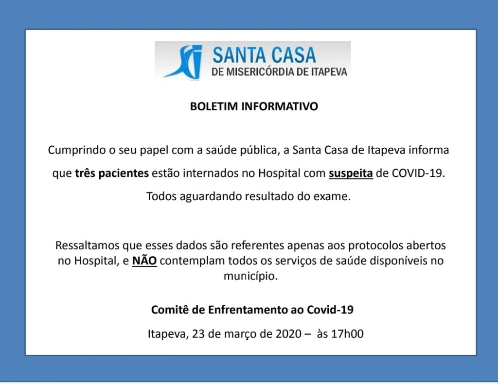 Coronavírus: 3 pacientes internados na Santa Casa
