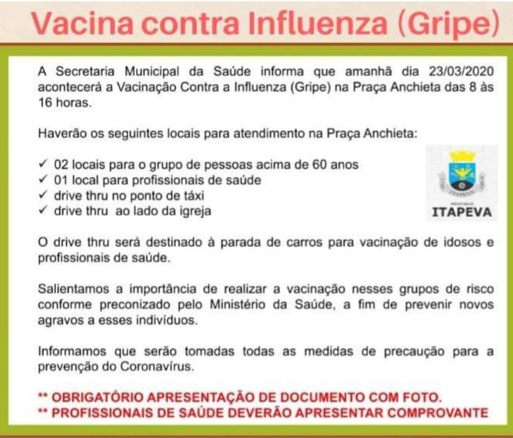 Vacinação contra a gripe inicia nesta segunda, dia 23