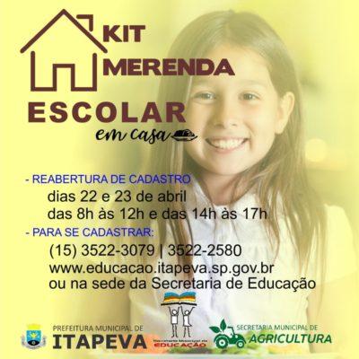 Alunos da Rede Municipal de Educação ainda podem se cadastrar para receber o kit merenda escolar