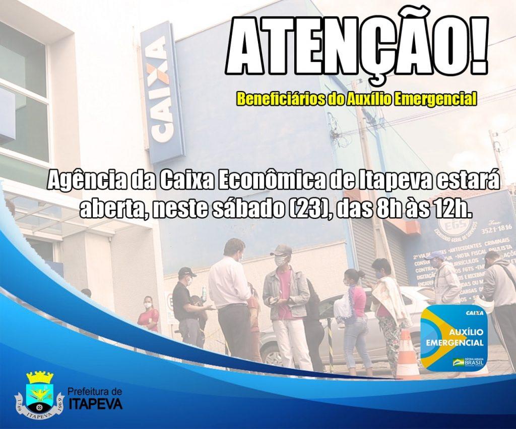 Caixa Econômica Federal abrirá neste sábado (23) para pagamento do auxílio emergencial