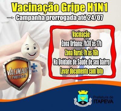 Campanha de Vacinação contra a Gripe é prorrogada para até o dia 24 de julho para a população