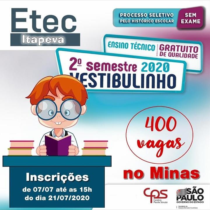 ETEC de Itapeva está com inscrições abertas para preenchimento de 400 vagas