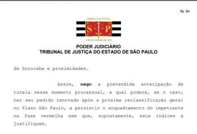 Judiciário nega pedido de Itapeva para sair da fase vermelha do Plano SP