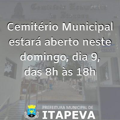 Cemitério Municipal abrirá neste domingo das 8h às 18h