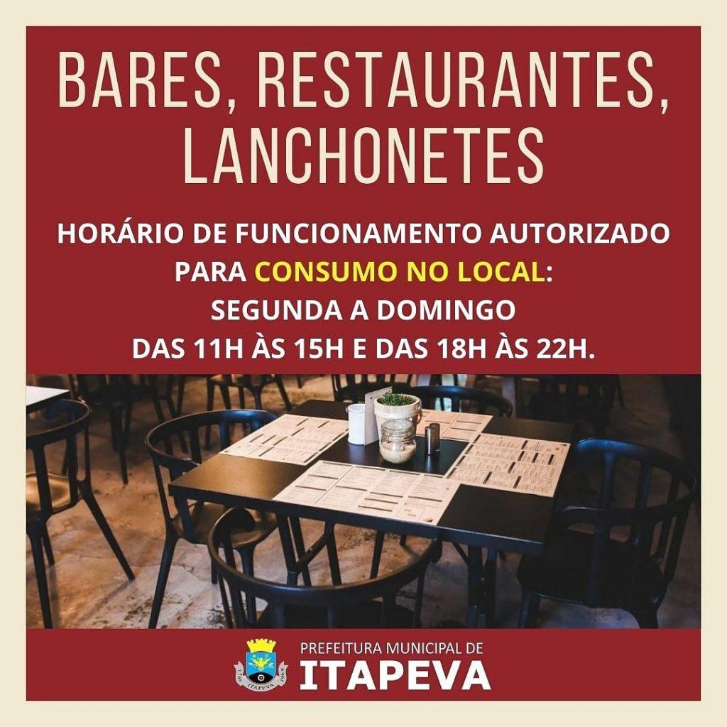 Bares, restaurantes e lanchonetes devem cumprir horário determinado para consumo no local