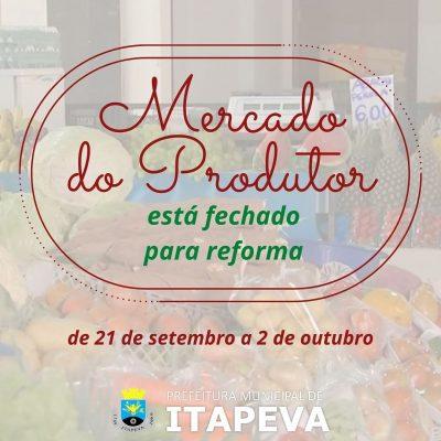 Mercado do Produtor estará fechado a partir de hoje, dia 21, para reforma em suas dependências