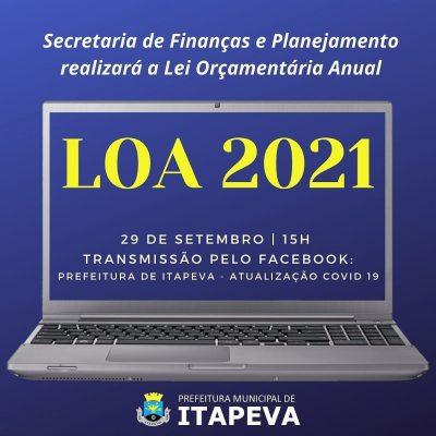 Secretaria de Finanças apresentará a LOA 2021 – Lei Orçamentária Anual online, no dia 29