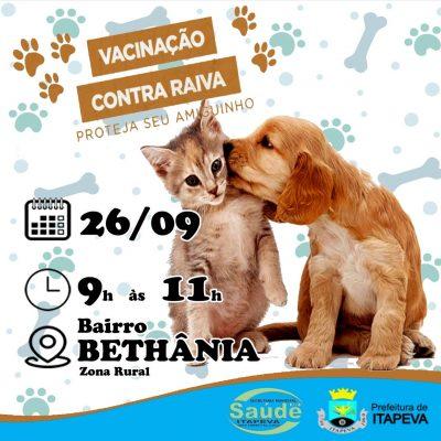Prefeitura realiza vacinação antirrábica de cães e gatos no Bairro Bethania neste sábado (26)