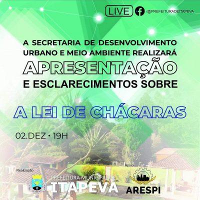 Secretaria de Desenvolvimento Urbano apresentará live sobre a Lei de Chácaras