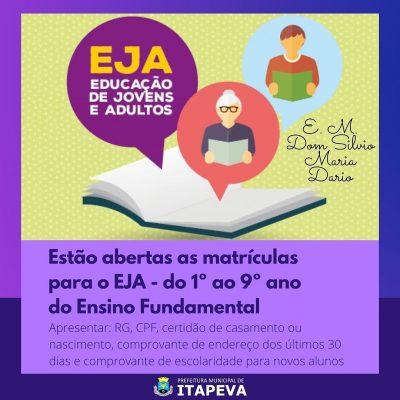 Estão abertas as matrículas para a EJA – Educação de Jovens e Adultos