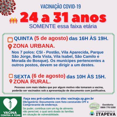 Itapeva vacinará munícipes de 24 a 31 anos nesta quinta (5) e sexta (6)