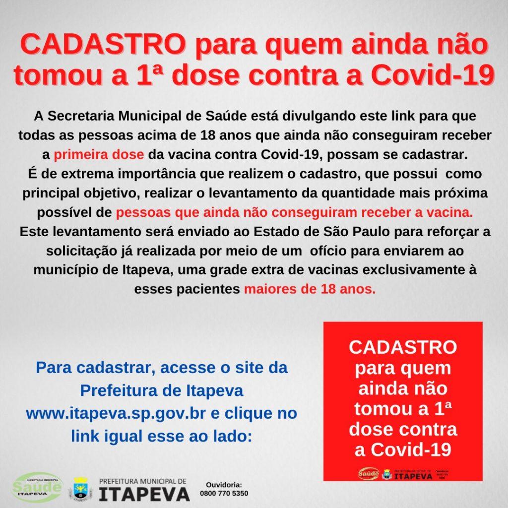 ATENÇÃO: Cadastro para quem ainda não tomou a 1ª dose contra a Covid-19