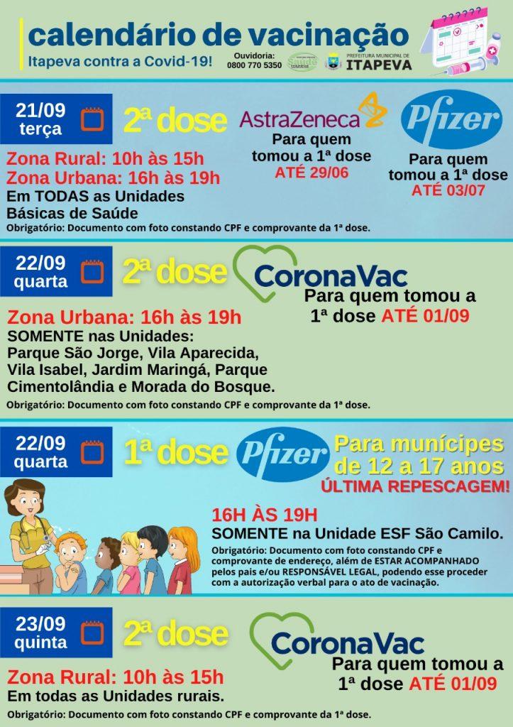 Calendário de vacinação contra a Covid-19 (De 21 a 23 de setembro de 2021)