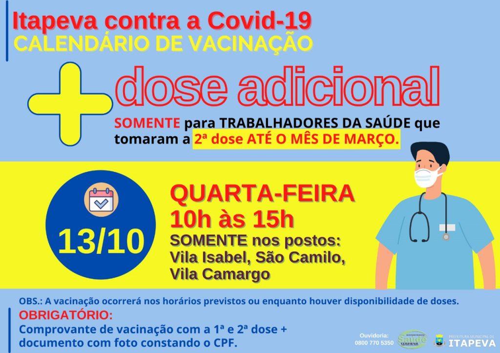 DOSE ADICIONAL para Trabalhadores da Saúde será aplicada na quarta-feira, dia 13