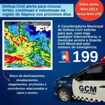 Defesa Civil alerta para chuvas fortes, contínuas e volumosas na região de Itapeva nos próximos dias